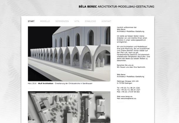 Webseite Bela Berec Architektur Modellbau Esslingen