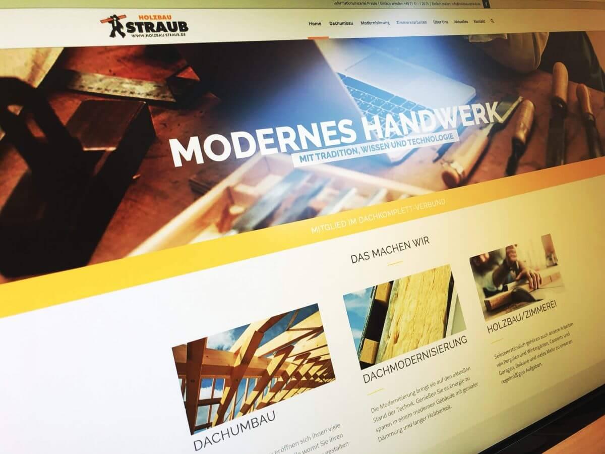 WordPress-Internetseite Holzbau Straub