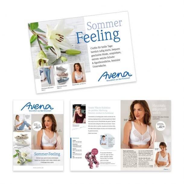 Katalog-Relaunch Neupositionierung Avena-Versand Versandhülle, Titel, Einstieg