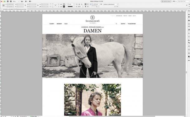 Screenshot Schneiders-Webshop Rubrik Damen